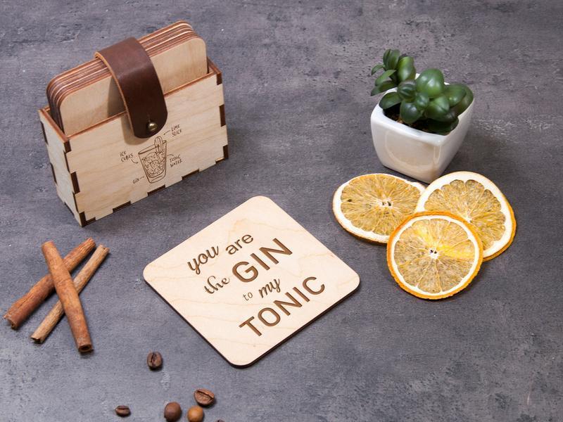 Набор деревянных подставок для горячего «Gin&Tonic» с лазерной гравировкой, аксессуар для бара
