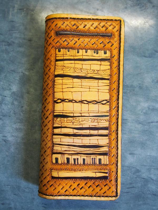 Кожаный кошелек Этнический, орнамент на кошельке, кошелек с этническим рисунком