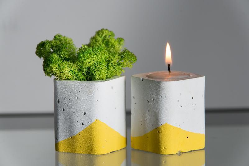 """Набір """"Біла пастель"""", жовтий. Мох+свічка"""