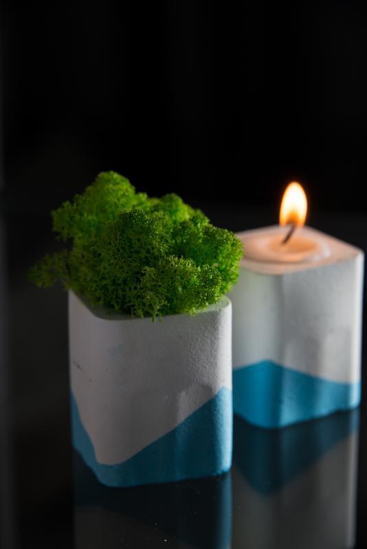 """Набор"""" Белая пастель"""", голубой. Мох+свеча"""