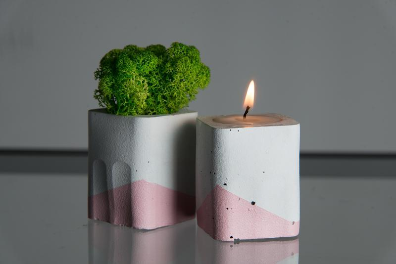"""Набор """"Белая пастель"""", розовый. Мох+свеча"""