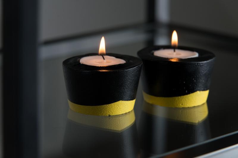 """Набор подсвечников """"Черная пастель"""", желтые / бетонные подсвечники"""