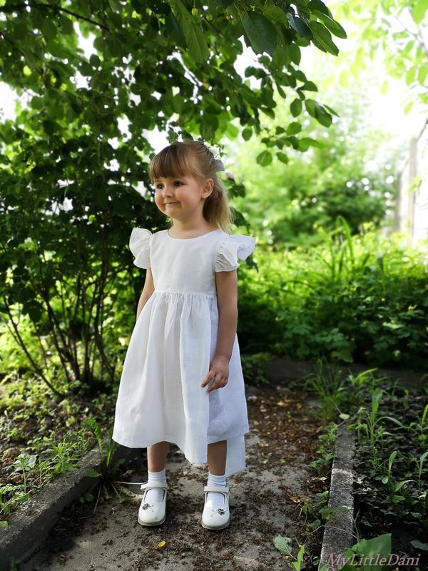 Белое льняное платье 100% лён
