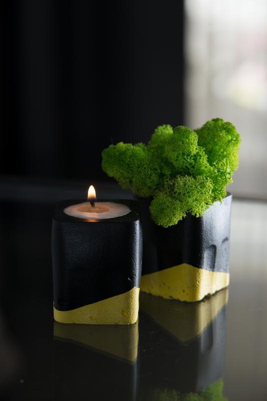 """Набор """"Черная пастель"""", желтый. Мох+свеча"""