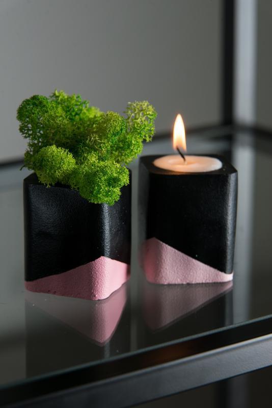 """Набор """"черная пастель"""", розовый. Мох+свеча"""