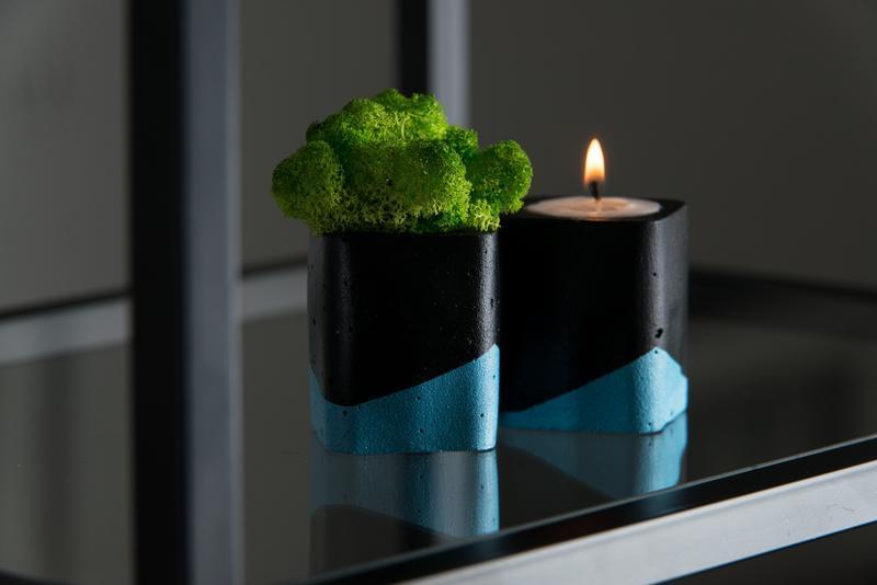 """Набір """"Чорна пастель"""", блакитний. Мох+свічка"""