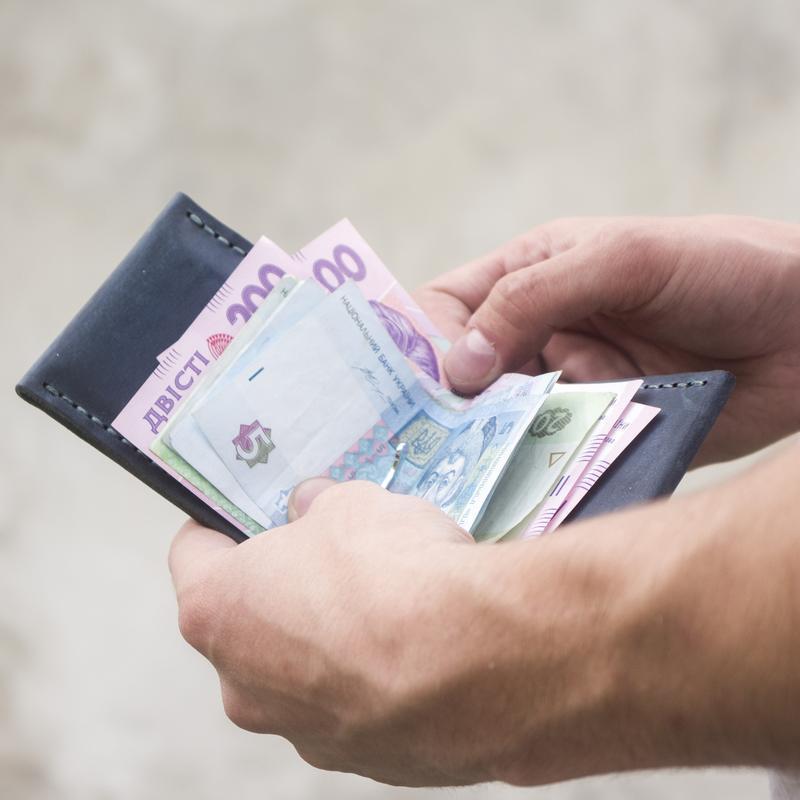 Мужской портмоне, кошелёк - Зажим для денег OldSalt с гравировкой Компас из кожи - Грязно-голубой