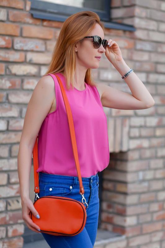 Оранжевая кожаная Маленькая женская сумка