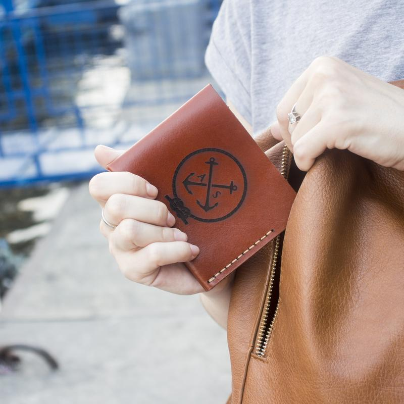 Жіночий тонкий гаманець в стилі мінімалізм Triplet - Коньячний (Італійська шкіра) + Подарунок браслет
