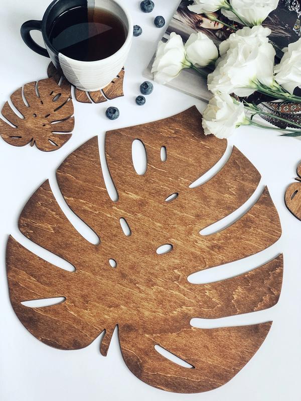 """Подставка для тарелки / Подтарельники на обеденный стол """"Monstera"""""""
