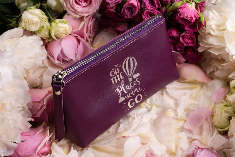 Женская кожаная косметичка, кожаная косметичка, дорожняя косметичка в фиолетовом цвете | 1_0020S_ADL