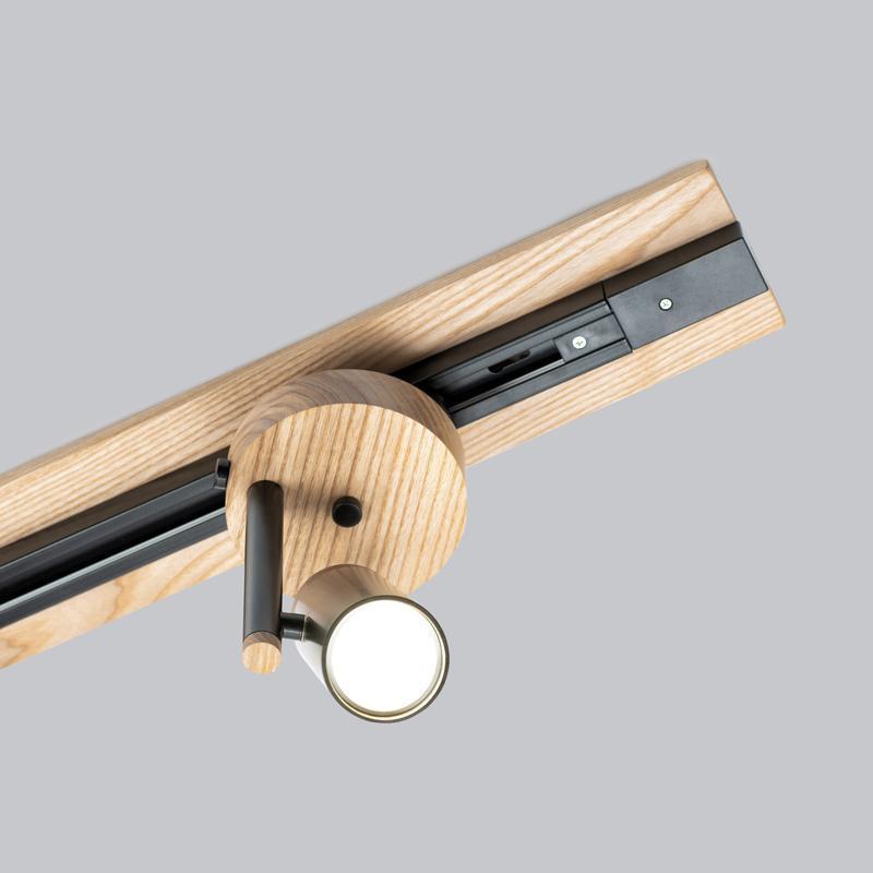 Светильник трековый лофт с широкой базой Urban Light металл, ясень - черный