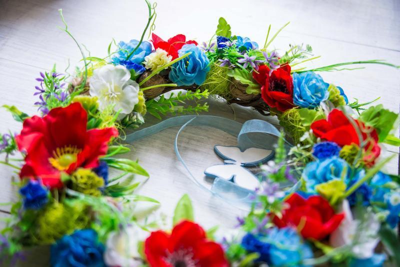 Венок интерьерный ′Summer poppies′ на стену или дверь