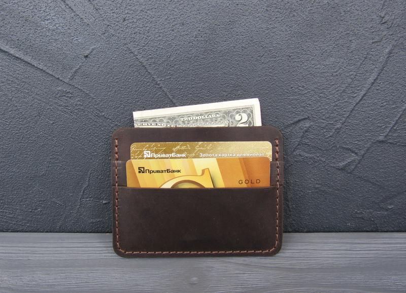 Картхолдер кожаный, мини-кошелек из натуральной кожи _темный шоколад_180