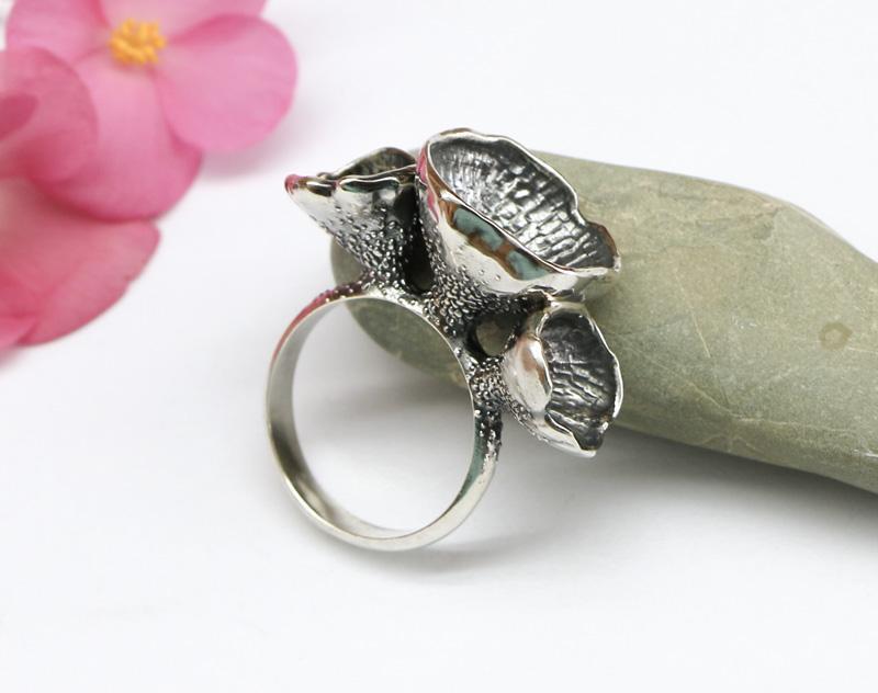 Серебряное кольцо Лесные цветы