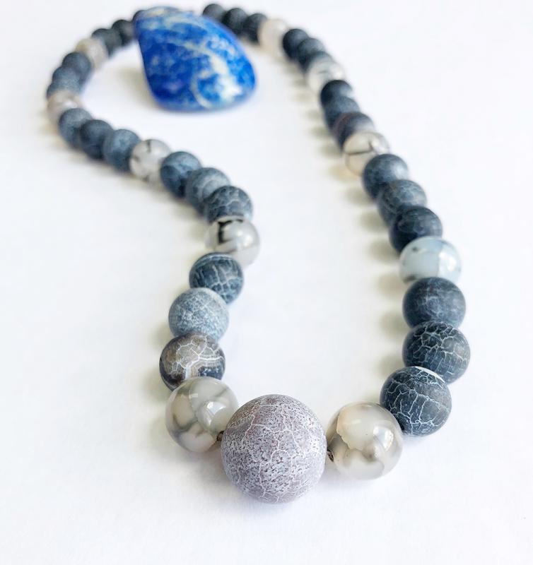 Синие бусы из натуральных камней, массивные украшения, женские бусы из агата
