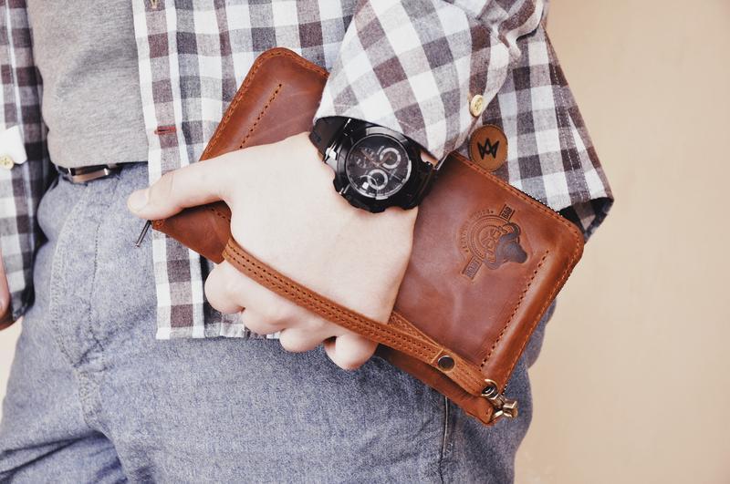 Кожаное портмоне-клатч Илон