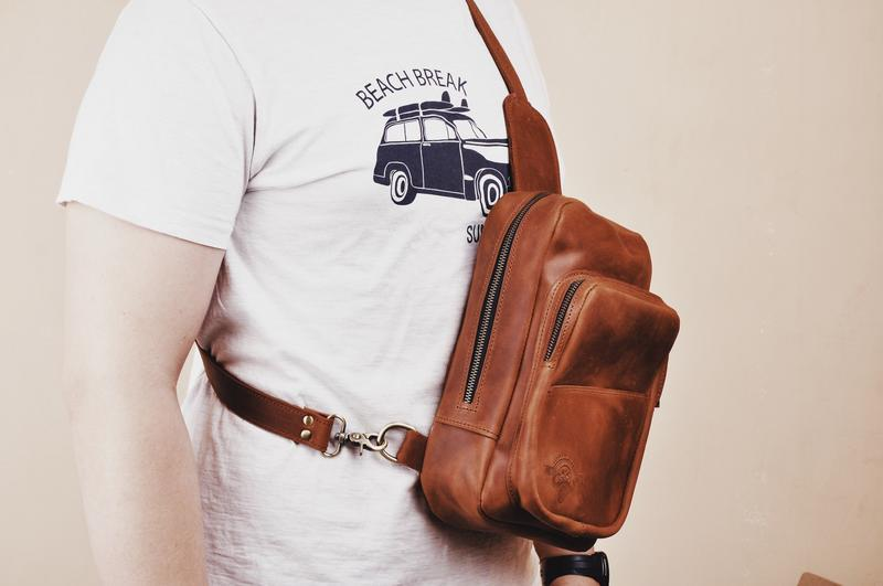 Нагрудная сумка кожаная Харви