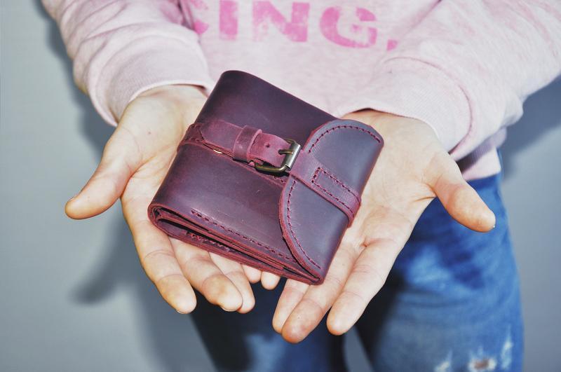 """Кожаный кошелек """"Адри"""" винного цвета"""