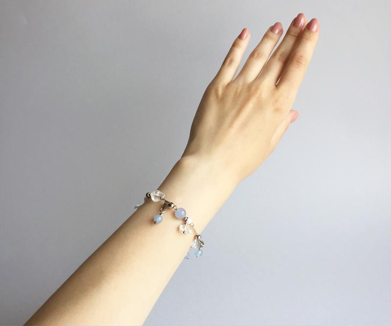 Браслет из аквамарина, горного хрусталя  и белого нефрита (модель № 384) JK jewelry