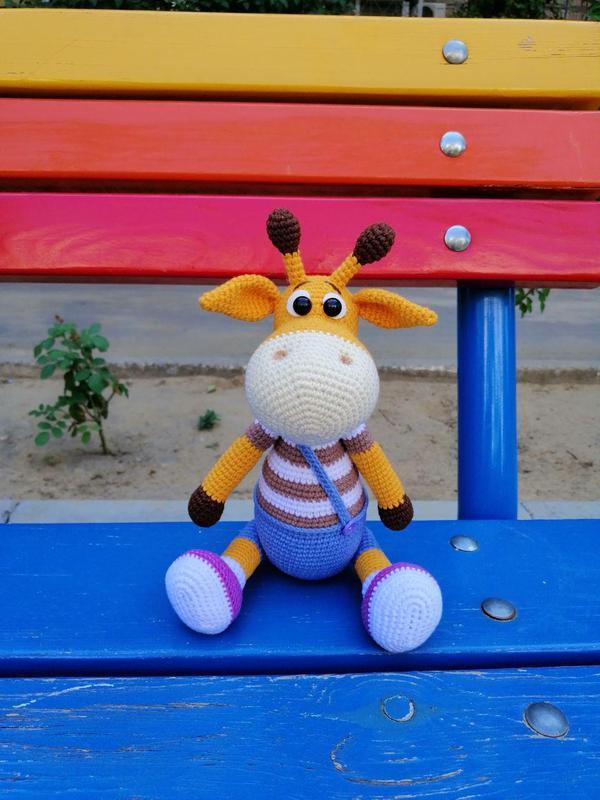 Вязаная игрушка амигуруми Жираф Ральф. Интерьерная игрушка, подарок новорожденному, ребенку