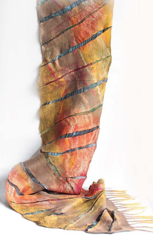 Валяний шарф ЗОЛОТІ ВІДБЛИСКИ