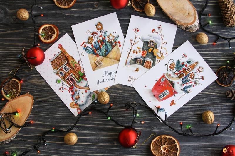 Наборы новогодних открыток, рисунком лилии открытки