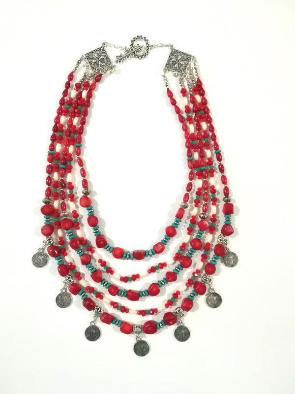 Этническое ожерелье Вышиванка из Кораллов и Бирюзы, колье 5 верениц \ Sk - 0117