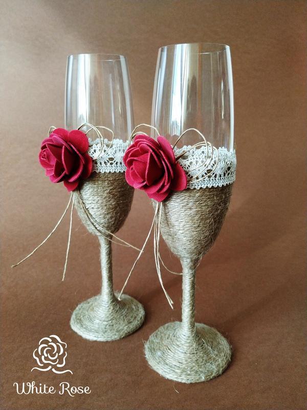 Свадебные бокалы в стиле rustic