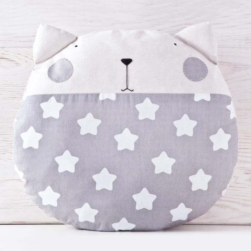Декоративная подушка кот, Серая подушка звезды, Круглая подушка