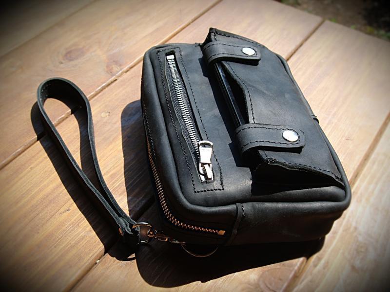Мужская кожаная барсетка-сумка из натуральной кожи Crazy Horse
