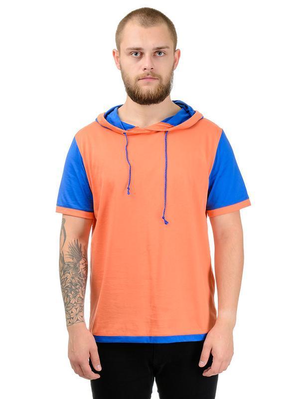 Чоловіча помаранчева з синім футболка з каптуром Artystuff