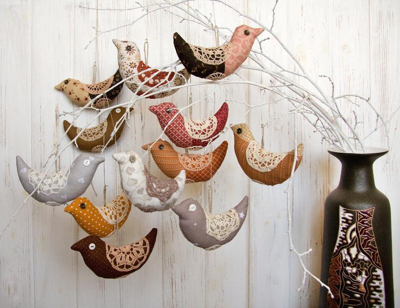 Текстильные птички (сет из 3 штук)