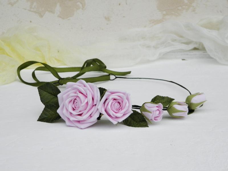 Венок на голову с розовыми розами, Обруч с цветами в подарок