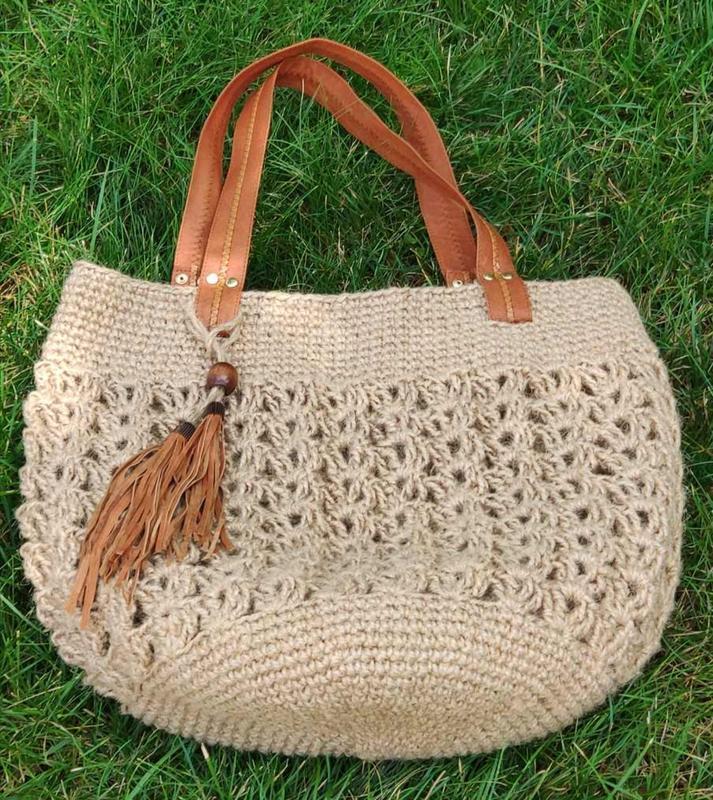 Вязаная пляжная сумка из джута, сумка-шопер