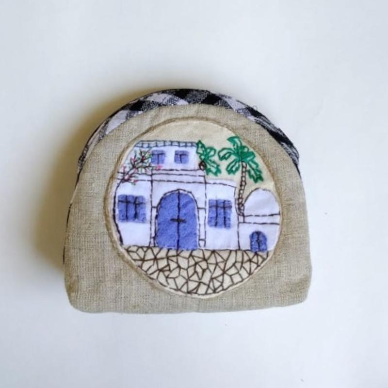 Косметичка «Тунис и маслины» выполнена в технике - Японский пэчворк