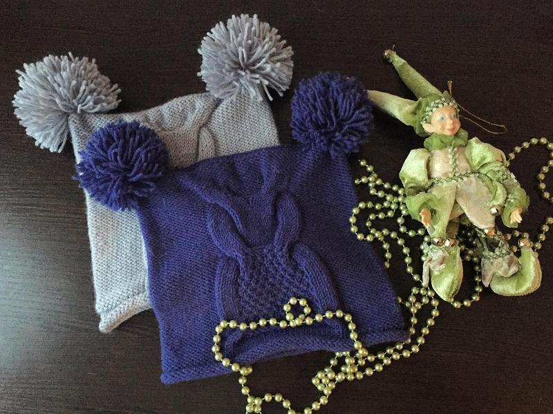 детская вязаная шапка сова с бубонами ручной работы купить в украине