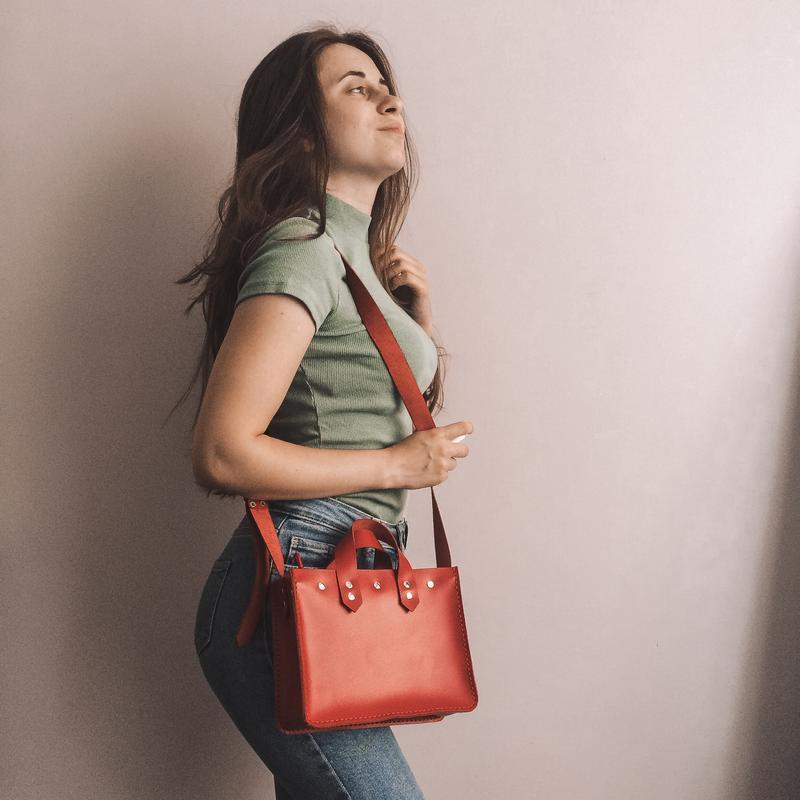 ORSI-Кожаная женская сумка красная, кожаная сумка женская