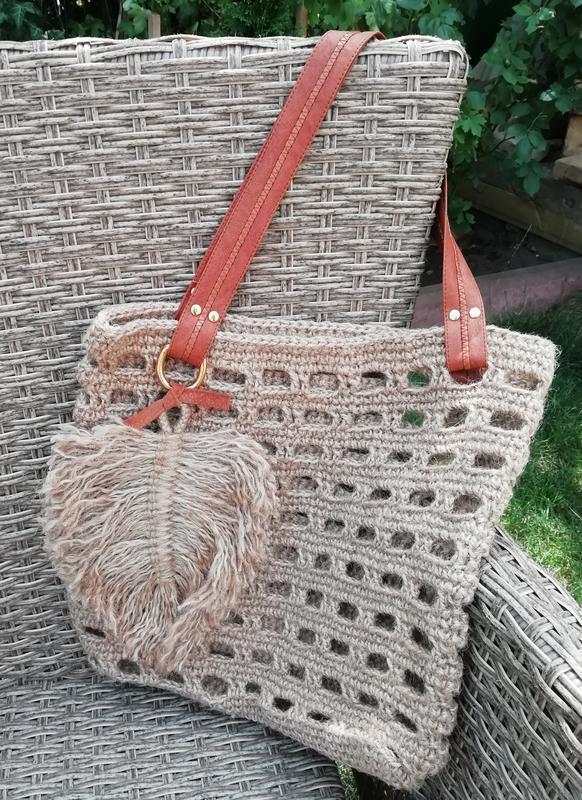Вязаная пляжная сумка из джута, сумка-сетка, с пером