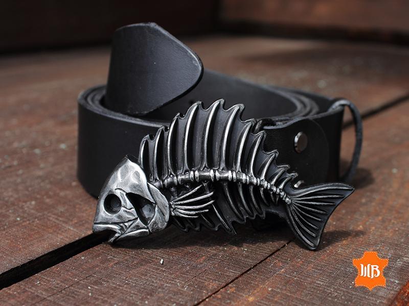 Кожаный ремень «Рыба», Ремень из натуральной кожи