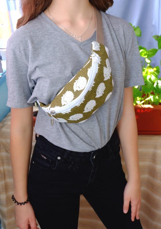 Сумка-бананка с ёжиками, поясная сумка 09//Сумка-бананка з їжачками, поясна сумка 09