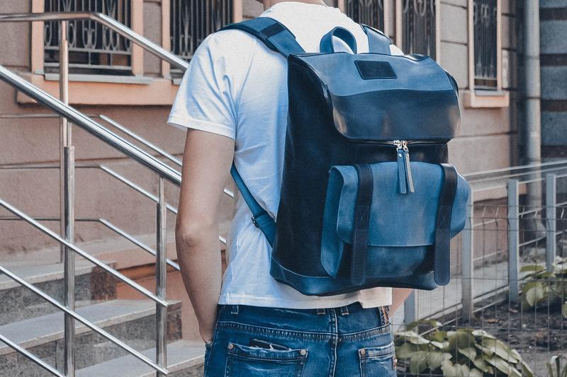 Кожаный мужской рюкзак, Синий городской рюкзак для путешествий