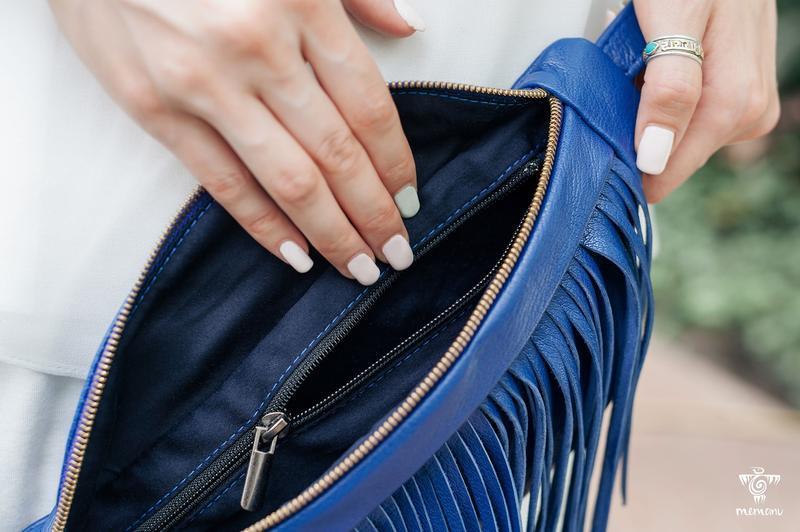 Поясная сумка с бахромой, Женская кожаная бананка, Стильная сумка через плечо