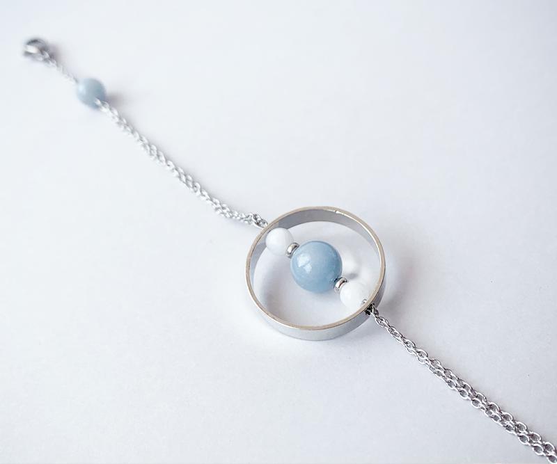"""Браслет в стилі """"геометрія"""" з ангелита і білого нефриту (модель № 546) JK jewelry"""