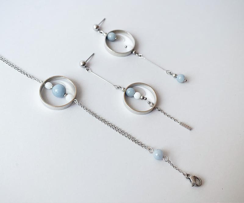 """Комплект сережки + браслет в стилі """"геометрія"""" (модель № 545, 546) JK jewelry"""