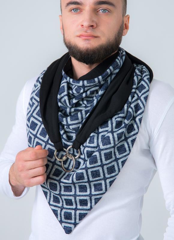 "Шарф-бактус ""Эдинбург"", шарф-снуд, большой мужской шарф, теплый мужской шарф, подарок мужчине"