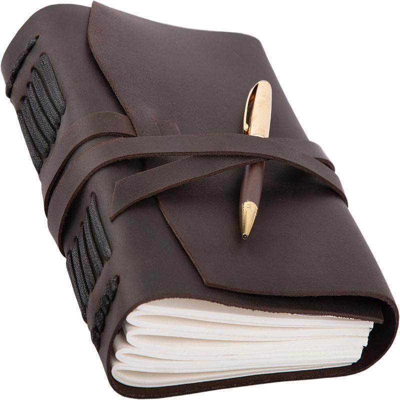 Блокнот кожаный А5 темно-коричневый с ручкой