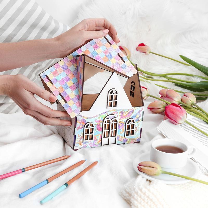 Деревянный домик - раскраска