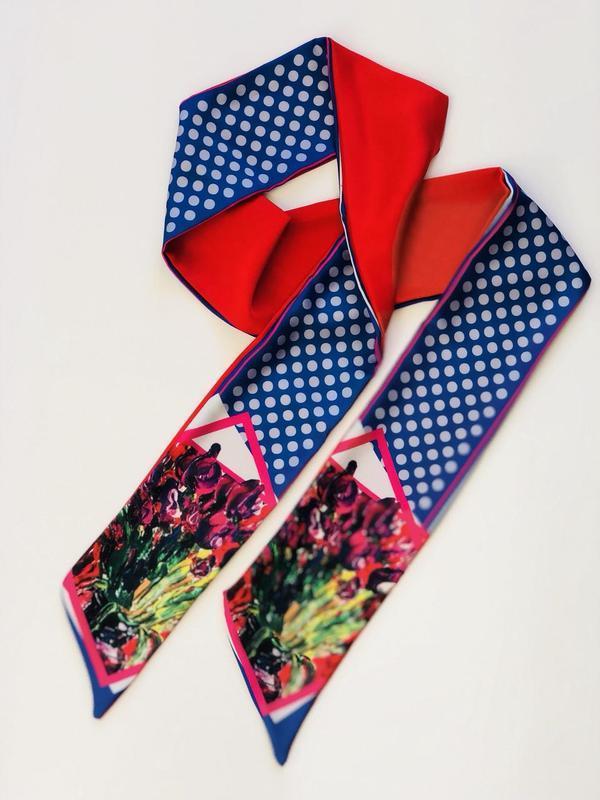 "Твилли, шарфик-галстук, шарф, шарф-лента ""Тюльпаны"""
