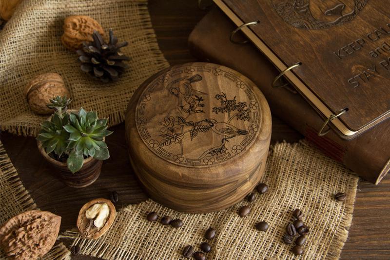 Шкатулка Круглая Из Дерева Для Украшений Бижутерии Аксессуар Для Хранения Личных Вещей Подарок Маме